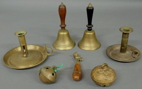 Group Of Brassware- 2 Chambersticks, 2 Hand Bells