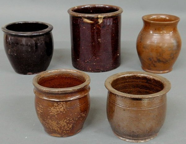 262: Five 19th c. Pennsylvania redware jars, largest 6.