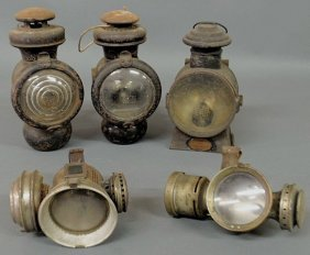 "264: Two early Ford automobile fluid lamps 9""h. and thr"