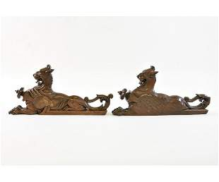 Pair of Carved Walnut Griffins