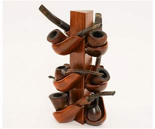 Nine Pipes in Carved Pipe Stand