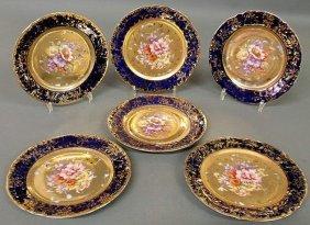 8: Set of six Austrian plates with floral and gilt de