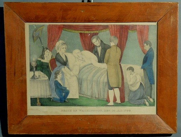 "12: N. Currier lithograph ""Death of Washington Dec. 14"