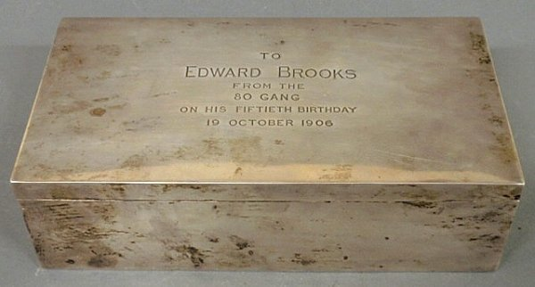 "13: Sterling silver presentation box ""To Edward Brooks"