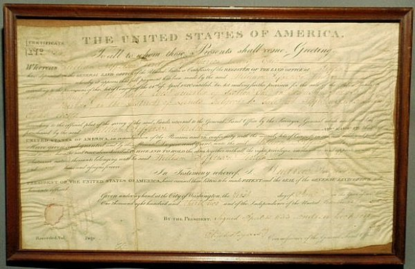 14: Parchment U.S. General Land Office certificate dat