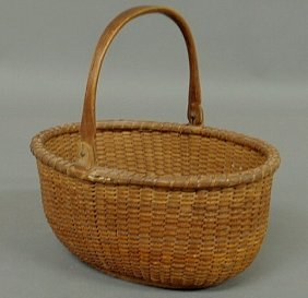 Rare Oblong Nantucket Basket, C.1900, With Wood Ba