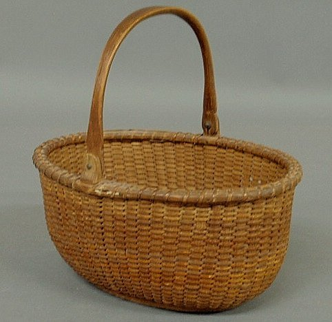 15: Rare oblong Nantucket basket, c.1900, with wood ba