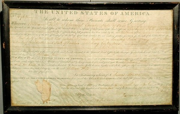 18: Parchment U.S. General Land Office certificate dat