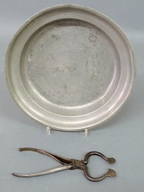 """21: English pewter basin dated 1791, 12.5""""dia. and a p"""