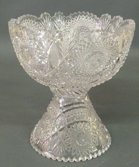 """22: Cut glass two-piece punchbowl, 20th c. 11.25""""h.,10"""