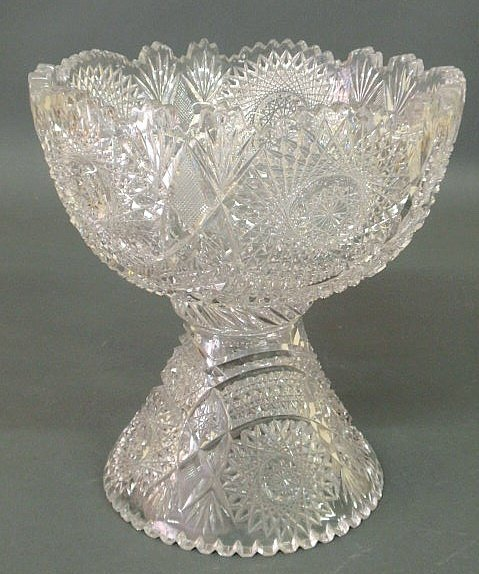 "22: Cut glass two-piece punchbowl, 20th c. 11.25""h.,10"