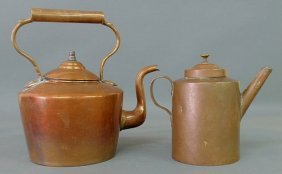 """23: Continental 19th c. copper tea kettle 13.5""""h. and"""