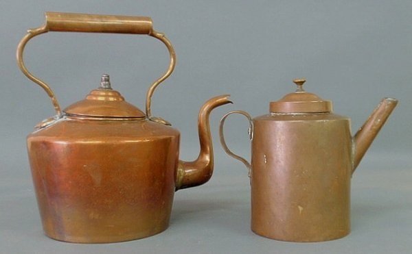 "23: Continental 19th c. copper tea kettle 13.5""h. and"