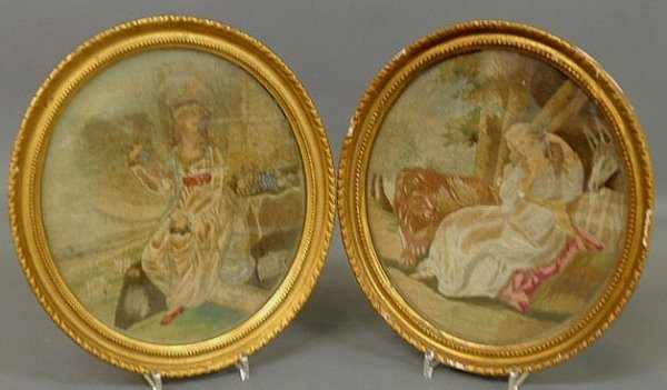 26: Pair of English oval silkworks, 19th c., of seated
