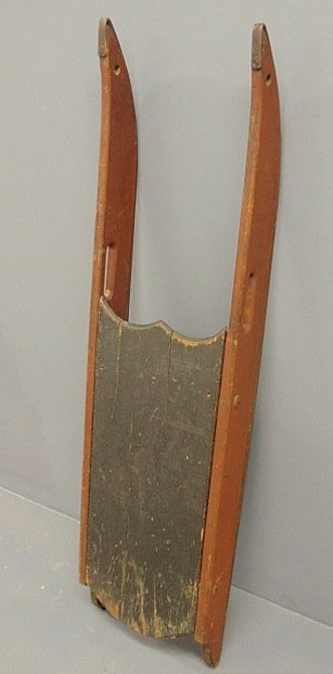 29: Continental wood sled, 19th c., with iron runners,