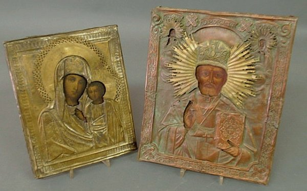 30: Two Russian icons, 18th/19th c., pierced and cut m