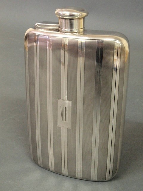 52: Tiffany & Co. sterling silver one-pint flask monog
