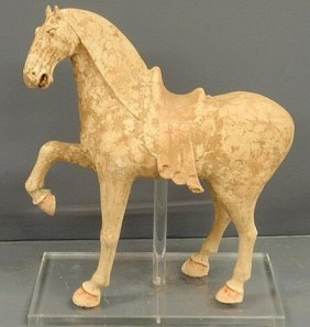 535: Tang Dynasty pottery prancing horse with saddle. 2