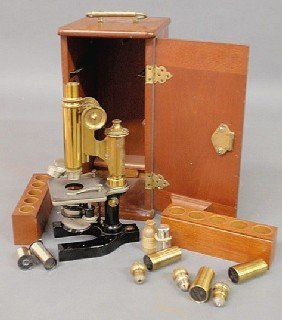 5: Mahogany cased microscope by Bausch & Lomb Optical
