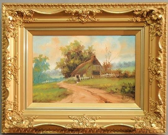 7: Oil on canvas landscape painting of a cottage in t