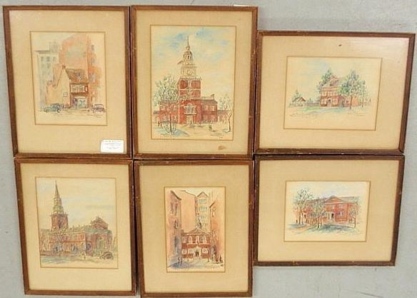 9: Set of six watercolor paintings of Philadelphia, e