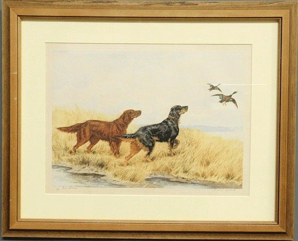 10: Framed and matted print of setter dogs and mallard