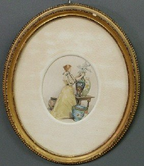 12: Victorian oval watercolor of a woman arranging flo