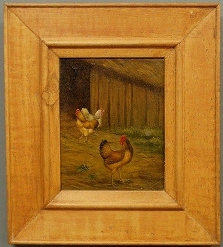 13: Oil on canvas painting of a barnyard scene with ch