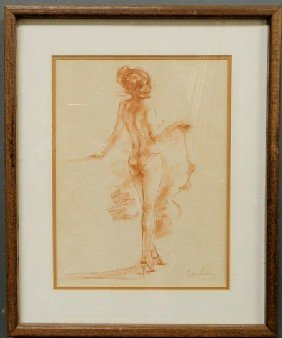 "16: Pastel drawing of a semi-nude woman signed ""Connie"
