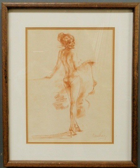 """16: Pastel drawing of a semi-nude woman signed """"Connie"""