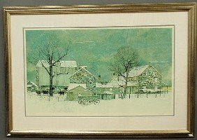 17: Framed and matted Peter Sculthorpe print of a Ches