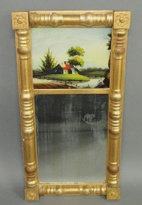 19: Sheraton gilt framed mirror with reverse églomise