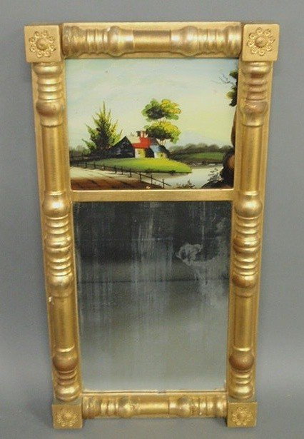 19: Sheraton gilt framed mirror with reverse églomise