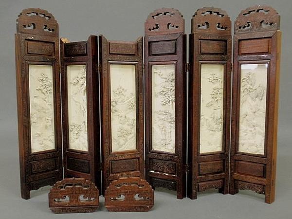 21: Chinese miniature folding screen, inlaid rosewood,