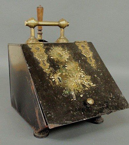 22: Victorian black tin coalscuttle with a brass shove