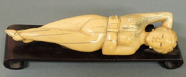 27: Asian ivory doctor's doll, 19th c., mounted on a b