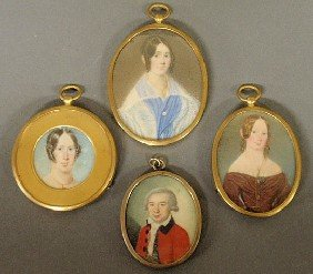 Four Early Miniature Watercolors, 18th/19th C., La