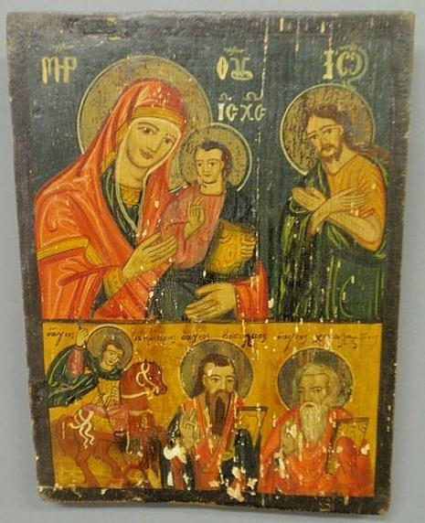 "102: Russian icon painted on panel, 19th c. 13""x9.75"