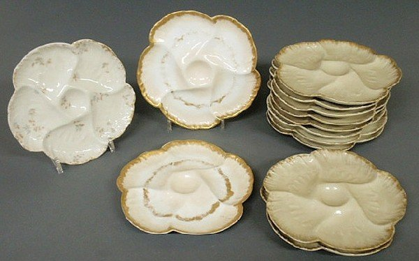"107: Set of ten Haviland oyster plates 8.75""dia. and th"