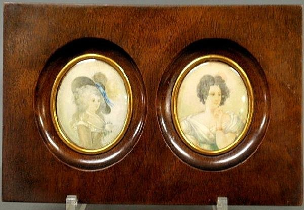 108: Pair of miniature French watercolor portraits, ear