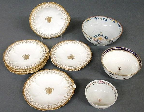 "113: Group of ceramic tableware- English Delft bowl 8""d"