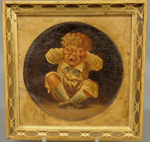 114: Victorian oil on canvas caricature painting of a c
