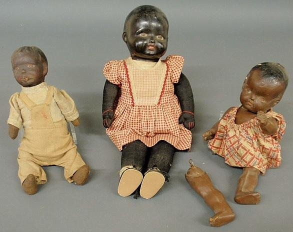 115: Three African American character dolls, c.1900, wi