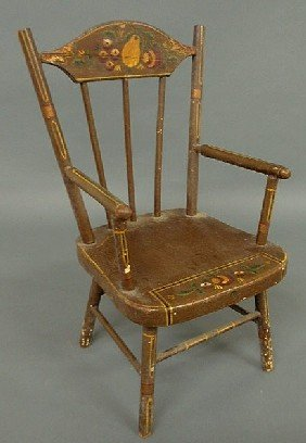 Child's Chair, Late 19th C., With Paint Decoration