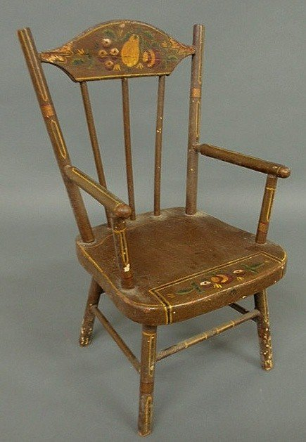117: Child's chair, late 19th c., with paint decoration