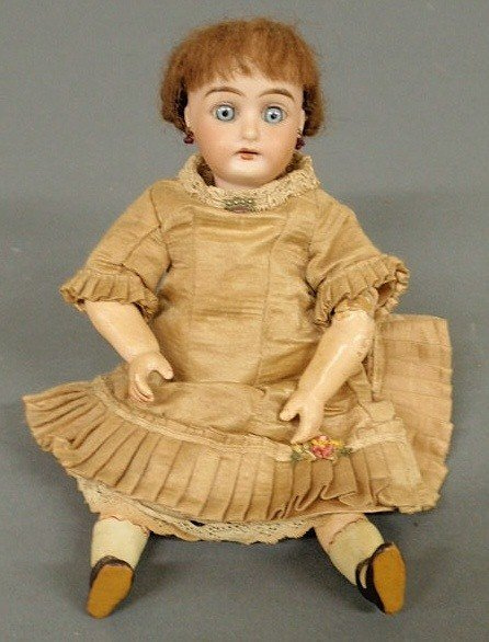 119: German bisque head doll with fully jointed body by