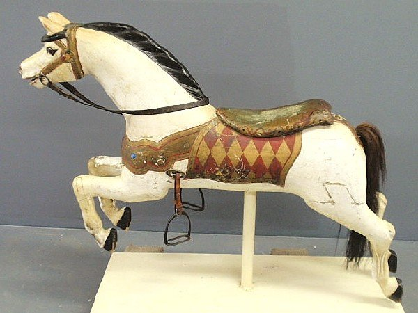 120: Early carousel horse, late 19th c., with glass eye