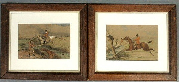 125: Pair of fox hunting watercolor paintings each sign