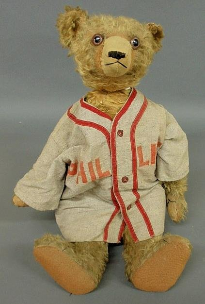 """126: Early mohair teddy bear. 24""""h."""
