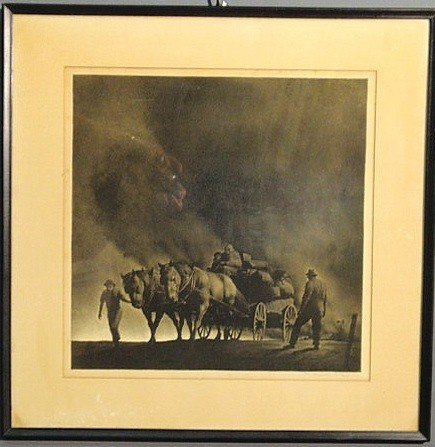 """128: Lithograph """"Dust Storm"""" from the Grapes of Wrath a"""
